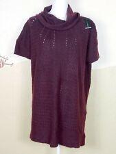 Lane Bryant Women Sz Plus 18/20 Sweater Burgundy Draped Neck Short Sleeve - NEW