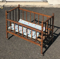 Antique Vtg Wood Baby Doll Crib Spindle Jenny Lynn Style For Composition Dolls