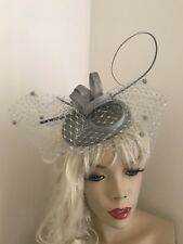 Fascinator Silver Grey Pillbox Wedding Hat Formal Headpiece Hatinator Veil Dots