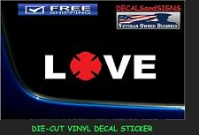 LOVE FIREMAN FIREFIGHTER DECAL STICKER VINYL Truck Car Window I Heart
