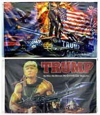 Lot of 2 Trump 2020 Flags Rambo & Tank Trump Keep America Great Flag 3' x 5'