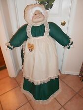 Vacuum Cover Soft Sculpture Grandma -  Hunter Green/Cream Osnaburg Apron/Hat