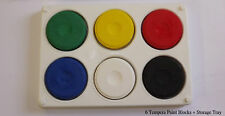 6 Large School / Home Tempera Color Paint Blocks + Large & Strong 6 Well Palette