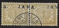 Netherlands Indies stamps 1908 NVPH 64fb  SHIFTED Ovpt  PAIR  CANC  VF