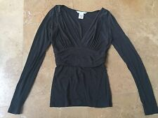 Marciano Soft Black Deep V-Neck Long Sleeve Career Work Top Rouching Small S