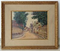 Antique Oil French Impressionist Painting Flag Landscape Maurice UTRILLO