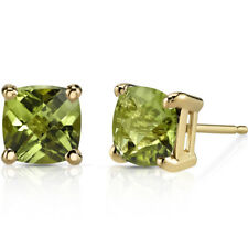 14K 14ct Yellow Gold 1.5 Carats Peridot Stud Earrings Cushion Cut  6 x 6 mm