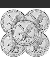 2021 T2 (5 Coins)$1 1 Troy ounce  ASE ☆From Sealed US MINT TUBES☆In Capsules-5pc