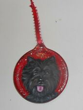 Brindle Cairn Terrier Dog Hand Painted Christmas Ornament Decoration