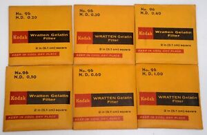 6 Kodak 2in Square #96 Neutral Density Wratten Gelatin Filter Collection Vintage