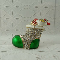 VTG Rhinestone Green Enamel Christmas Stocking w/ Santa Claus Pin Brooch on Card