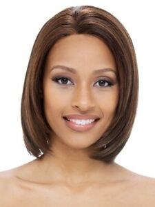 Janet Collection 100% Remy Human Hair Lace Front Keri Wig- Color 2 Dark Brown