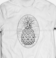 RETRO PINEAPPLE SKETCH Tropical Fruit Food 100% Cotton Mens & Womens T-shirt Tee
