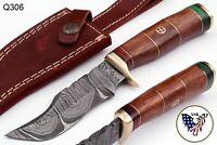 CUSTOM HAND FORGED DAMASCUS STEEL SKINNER KNIFE W/ ROSE WOOD HANDLE - Q 306