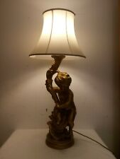 a large vintage gilt plaster cherub table lamp and shade, h. 95cm. A092221