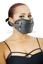 Black Leather Lockable Extreme Mouth Gag Mask