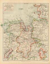 Oldenburg Flüsse Verfassung Geschichte Nordsee 100 Jahre alte original Karte