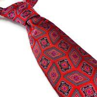 Ermenegildo Zegna Italy 100% Silk Neck Tie Red Medallions Geometric 3.5W 60L