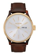 Nixon Men's Sentry Luxe A12633169-00 42mm Silver Dial Leather Watch