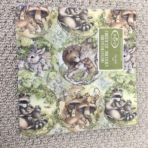 Vintage 80s Flat Gift Wrap Woodland Forest Animals 2 Sheets Hallmark NIP