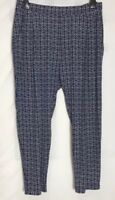 M&S Navy Print Stretch Jersey Tapered Leg Trousers Size 16 - 24 Short (ms-278h)