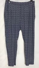 M&S Navy Print Stretch Jersey Tapered Leg Trousers 18 - 24 Short  (ms-278h)