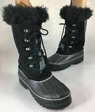 Khombu Womens 8M Nordic 2 Black Leather Winter Duck Boots Faux Fur Waterproof