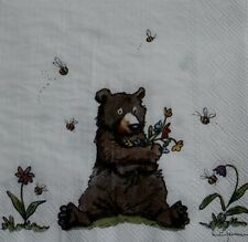 4 single 33 cm paper napkins, bear, bees flowers, table, decoupage, crafts R2017