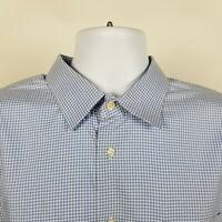 Nordstrom Wrinkle Free Trim Fit Blue Gingham Check Mens Dress Shirt 17.5 36/37