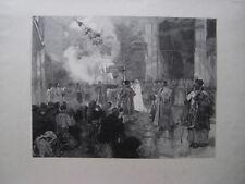 LEPÈRE AUGUSTE GRAVURE SUR BOIS 1880 SIGNÉE SIGNED WOODCUT ST J. DE COMPOSTELLE