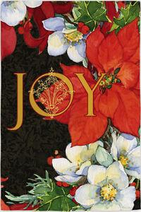 Garden Flag, Christmas, Joy, Poinsettias, Red, White