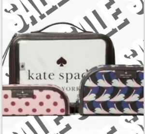 NWT Kate Spade Clear Sylvia Geo Bird Cosmetic Train Case $259 Authentic