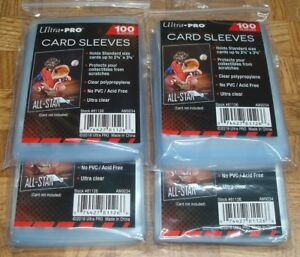 🚨 400 NEW SOFT PENNY ULTRA PRO BASEBALL CARD POLY SLEEVES fits 3X4 TOPLOADERS