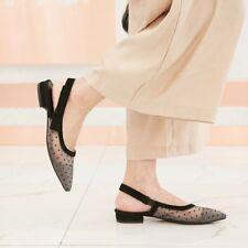 Womens Fashion Pointed Toe Polka Dot Lace Slingback Low Heel Court Shoes