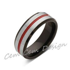 Red Tungsten Wedding Band - Rose Gold - Brushed Tungsten Ring - 6mm - Mens Ring