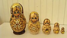 "Vintage Russian Wood Hand Made Nesting Dolls Matryoshka 5 Pieces, 6.5"" tall"