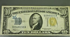 1934-A $10 NORTH AFRICA Yellow Seal Silver Certificate B09480290A