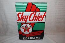 "Vintage 1947 Texaco Sky Chief Gasoline Gas Pump Plate 18"" Porcelain Metal Sign"