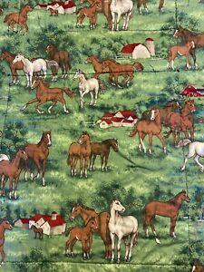 "Vintage Handmade Child Lap Horse Quilt 40"" x 52"" Green Brown Blue Burgundy"