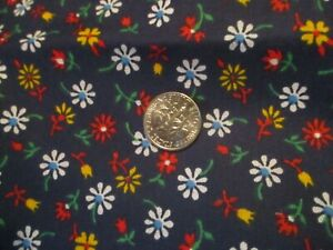 Vintage FLORAL FABRIC  White Daisies red fowers yellow flowers on Navy Blue 3 yd
