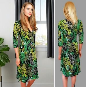 WALLIS DRESS UK10 GREEN MIX FLORAL PRINT STRETCH JERSEY KNEE LENGTH WRAP#48