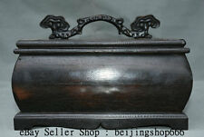 """10"""" Rare Old Chinese Wood Hand Carved Furniture Ruyi Lid JEWELLERY Jewelry BOX"""