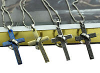 Cool Punk Unisex Stainless Steel Bible Cross Ring Pendant Necklace Gift Fash