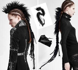 Mohawk braid clip hair extension lace gothic punk rock metal PunkRave Black