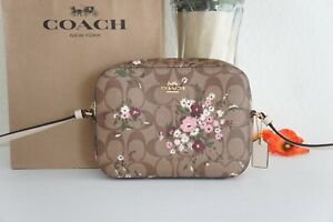 NWT Coach C0037 Mini Camera Bag In Signature Canvas With Evergreen Floral Print