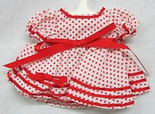 """Handmade RED & WHITE POLKA DOT STAND UP & CHEER DRESS for 10"""" Doll Clothes #D34"""