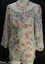 D'ACCORD Paris multi color chiffon top blouse peasant shirt bohemian S M NEW VTG