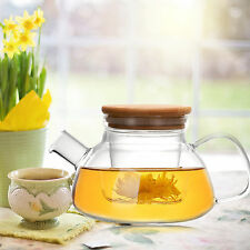 Heat Resistant Glass Teapot with Infuser Wooden cover Coffee Green Tea 600ML