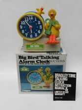 Nicest Vtg Sesame Street Big Bird Talking Alarm Clock w Box & Key Fully Working