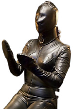 Real Leather Women Body Suit RestrictedBondage Slave Costume with collar Glove